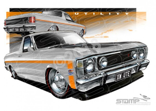 Ford Ute XW UTE XW FALCON UTE SILVER FOX ORANGE STRIPE A3 FRAMED PRINT (FT082T)