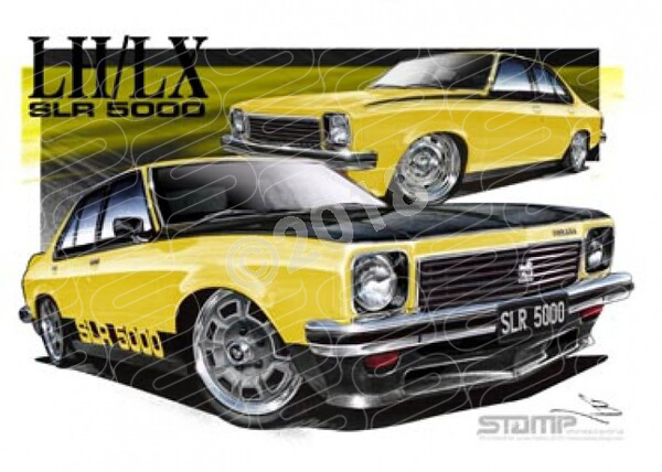 HOLDEN TORANA SLR 5000 ABSYNTH YELLOW A3 FRAMED PRINT (HC180F)