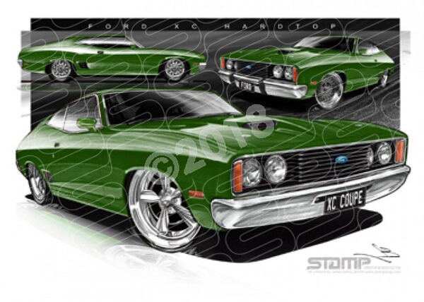 Ford Coupe XC XC COUPE KELLY GREEN A3 FRAMED PRINT (FT226)