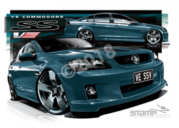 Holden Commodore VE SSV KARMA STRIPE A3 FRAMED PRINT (HC332A)