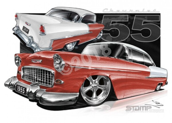 Classic 55 CHEVY COPPER MAROON/IVORY A3 FRAMED PRINT (C002G)