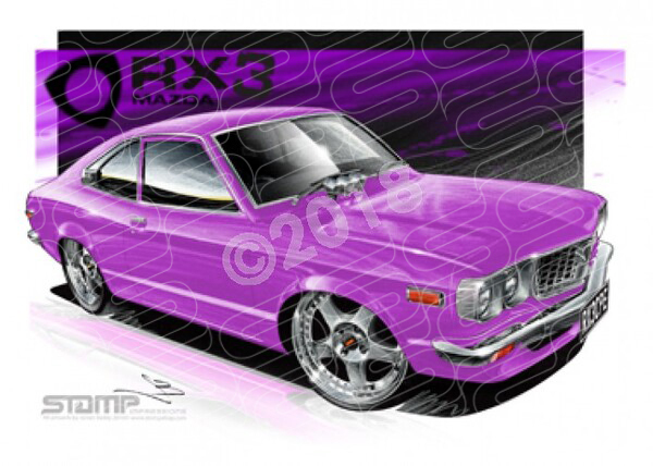 Imports Mazda RX3 CPE PURPLE A3 FRAMED PRINT (S007D)