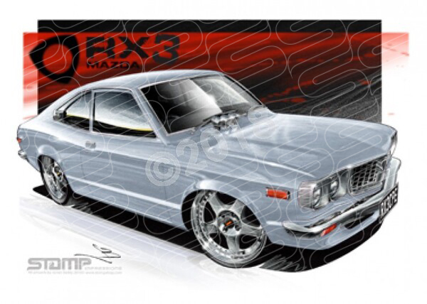 Imports Mazda RX3 CPE SILVER A3 FRAMED PRINT (S007H)