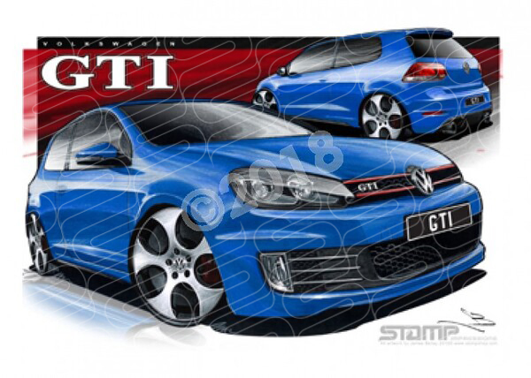 Imports Volkswagen GTI GOLF BLUE A3 FRAMED PRINT (S094)
