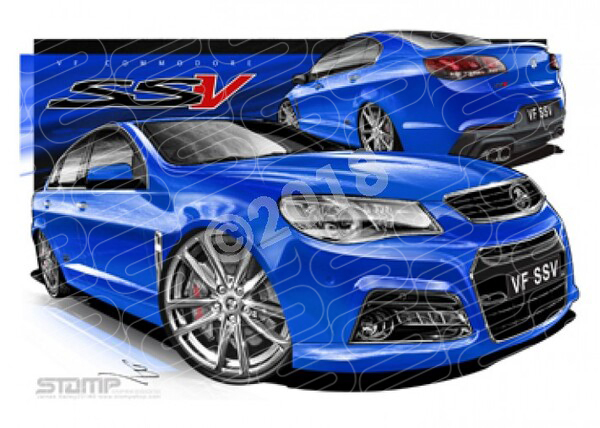 Holden Commodore VF VF SSV REDLINE VF SSV REDLINE PERFECT BLUE CHROME A3 FRAMED PRINT (HC706)