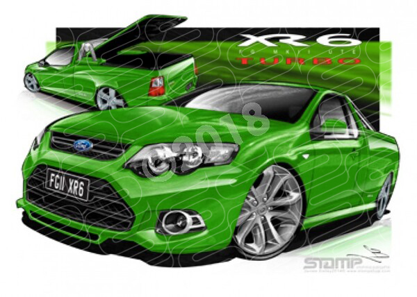 Ford Ute FG XR6 MKII UTE FG XR6 TURBO UTE SWIFT GREEN A3 FRAMED PRINT (FT386)