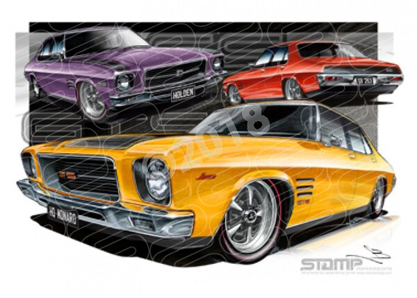 HOLDEN MONARO HQ GTS & SS 4 DOOR FRAMED A3 PRINT CAR WALL ART