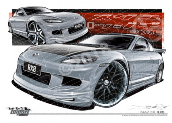 Imports Mazda RX8 SILVER A2 FRAMED PRINT (S036B)