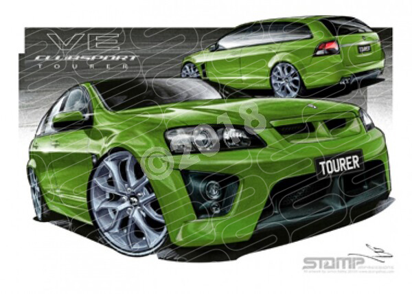 HSV Wagon VE TOURER WAGON ATOMIC GREEN A2 FRAMED PRINT (V177)