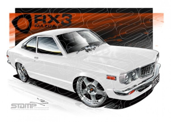 Imports Mazda RX3 CPE WHITE A2 FRAMED PRINT (S007C)