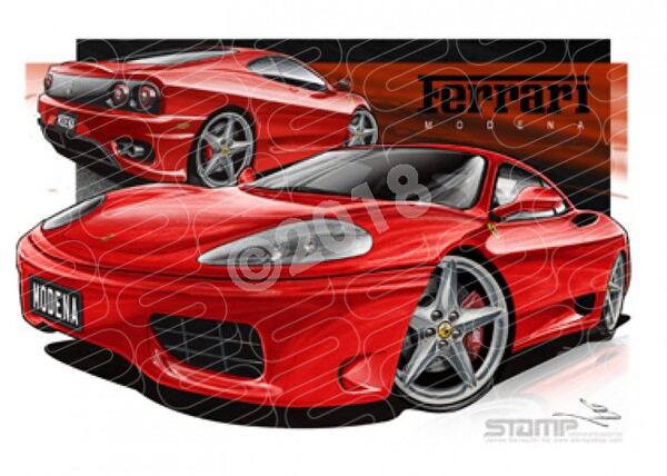 Euro Super Car FERRARI MODENA RED A2 FRAMED PRINT (UR031)