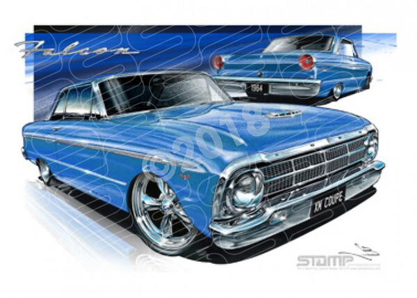 Coupe XM XM FALCON COUPE BLUE A2 FRAMED PRINT (FT056)