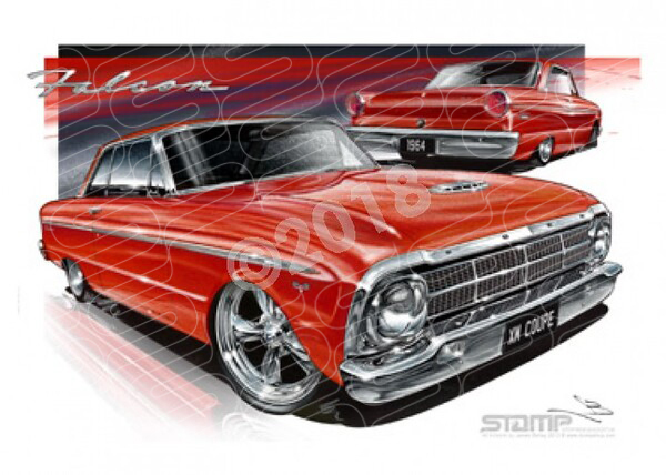Coupe XM XM FALCON COUPE RED A2 FRAMED PRINT (FT058)