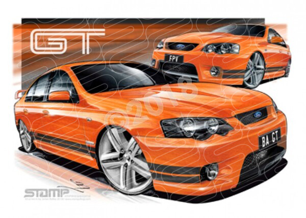 FPV BA GT BA GT BLOOD ORANGE BLACK STRIPES A2 FRAMED PRINT (FV002)
