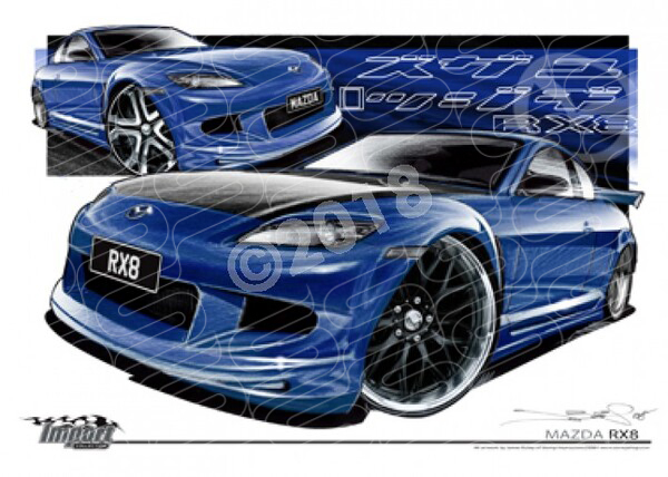 Imports Mazda RX8 BLUE A1 STRETCHED CANVAS (S036)