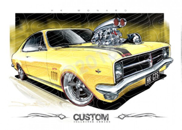 HK HOLDEN MONARO WARICK YELLOW BLOWN A1 STRETCHED CANVAS (D039)