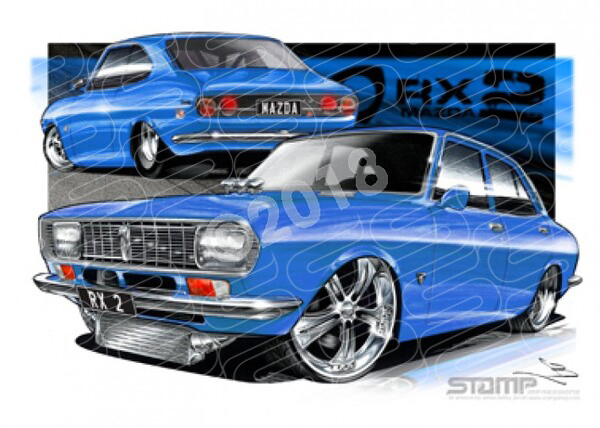 Imports Mazda RX2 BLUE A1 STRETCHED CANVAS (S010E)