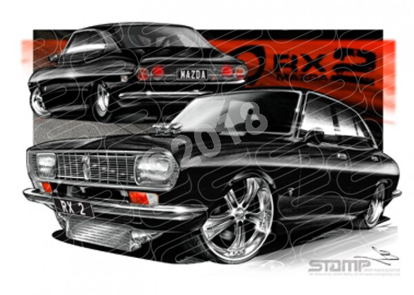Imports Mazda RX2 BLACK A1 STRETCHED CANVAS (S010H)