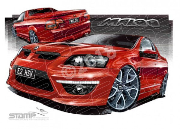 HSV Maloo E2 E2 MALOO RED HOT PENTAGONS A1 STRETCHED CANVAS (V235)