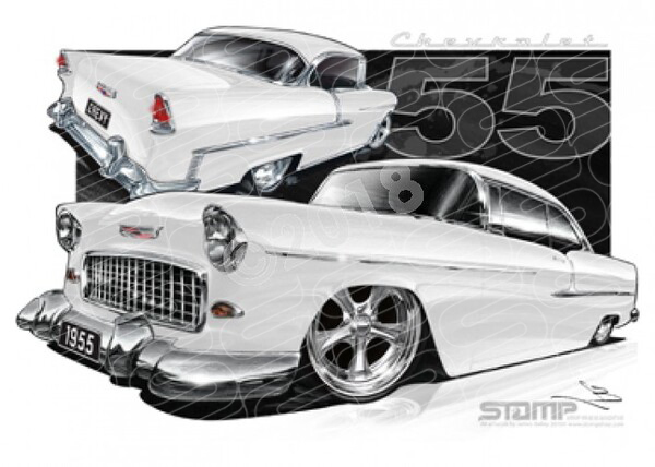 Classic 55 CHEVY IVORY A1 STRETCHED CANVAS (C002O)