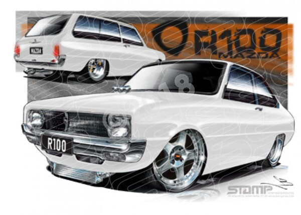 Imports Mazda R100 WHITE A1 STRETCHED CANVAS (S008A)