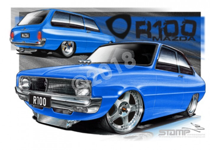 Imports Mazda R100 BLUE A1 STRETCHED CANVAS (S008D)