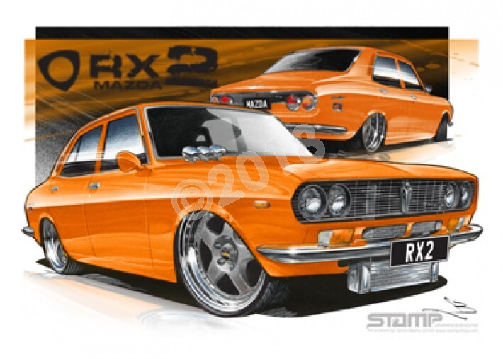 Imports Mazda RX2 ORANGE A1 STRETCHED CANVAS (S013B)