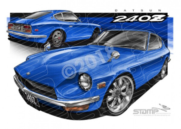 Imports Nissan DATSUN 240Z BLUE A1 STRETCHED CANVAS (S112)