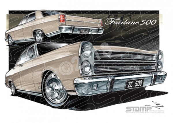 FAIRLANE 500 1969 ZC FORD 500 FAIRLANE CANDY IMPERIAL LUSTRE BRONZE A1 STRETCHED CANVAS (FT200J)