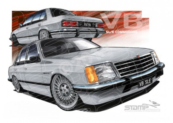 Commodore VB 1978 HOLDEN VB SLE COMMODORE SILVER A1 STRETCHED CANVAS (HC117B)