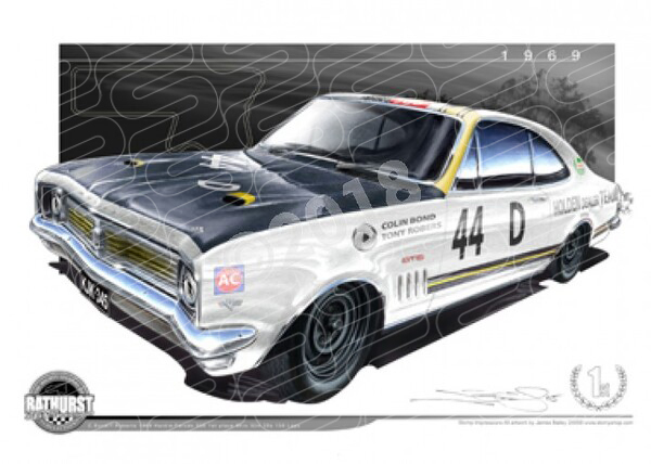 Bathurst Legends 1969 HT GTS 350 MONARO COLIN BOND / TONY ROBERTS A1 STRETCHED CANVAS (B007)