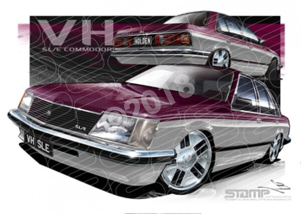 Commodore VH 1981 VH SLE BURGUNDY OVER SILVER COMMODORE A1 STRETCHED CANVAS (HC124)
