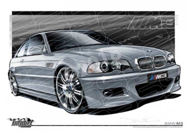 Imports BMW 2005 BMW M3 E46 SILVER GREY METALLIC A1 STRETCHED CANVAS (S032)